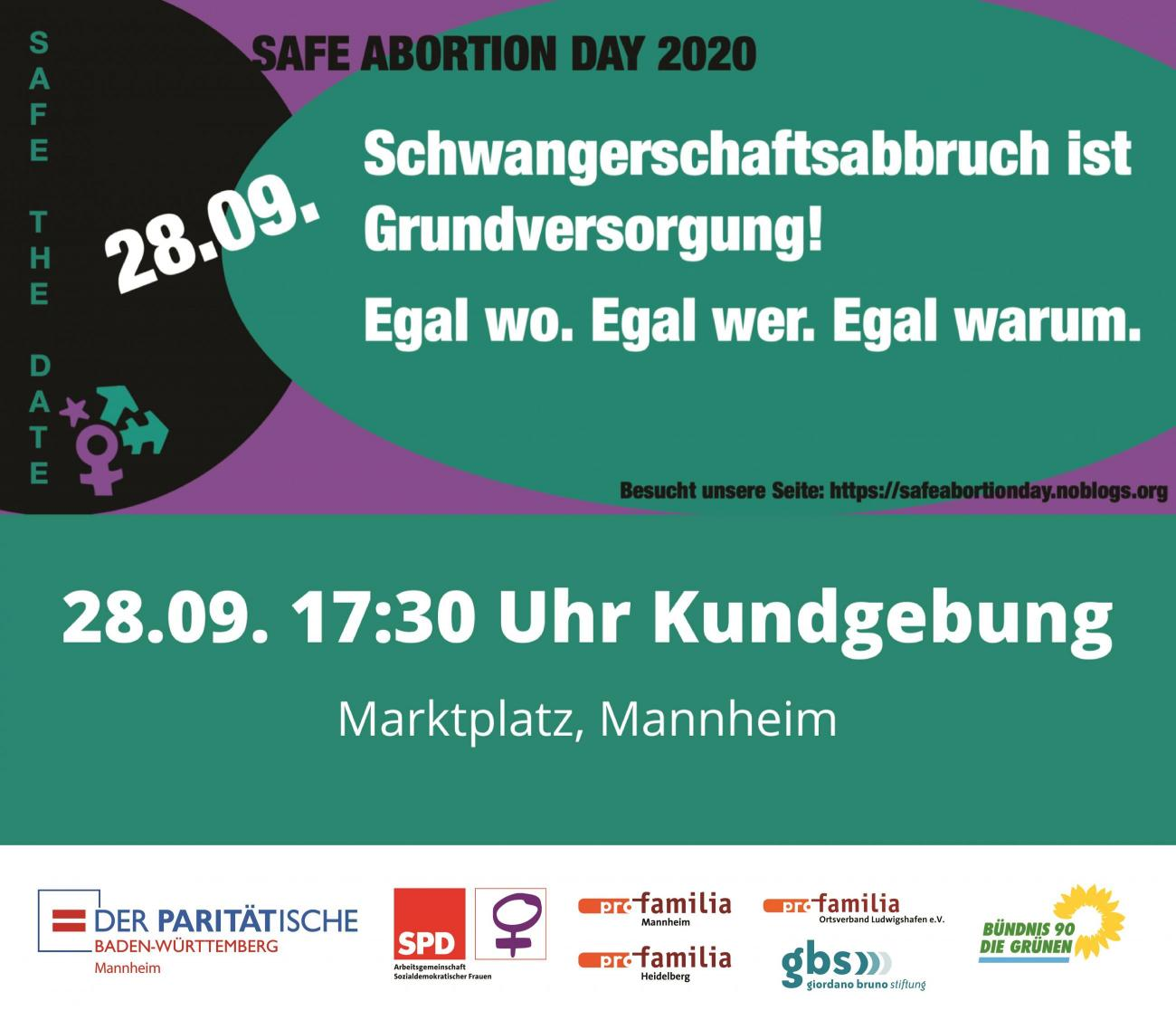 Plakat zum Aufruf SAFE ABORTION DAY 2020